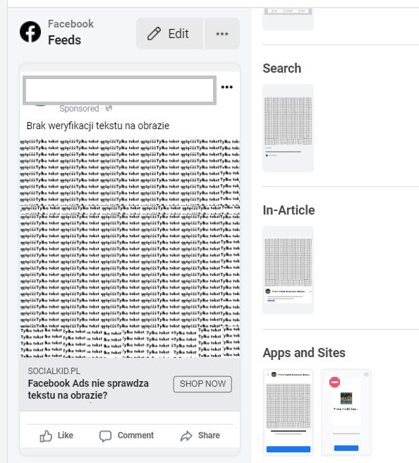 Brak weryfikacji tekstu na reklamie Facebook